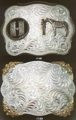 Initial Buckle & Floral Cornered Belt Buckle