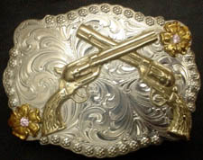 Crossed Six Shooter Buckle